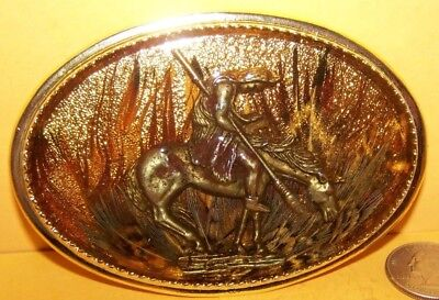 "1980s ""END OF THE TRAIL"" NATIVE AMERICAN BELT BUCKLE NEW UNUSED INDIAN MADE USA"