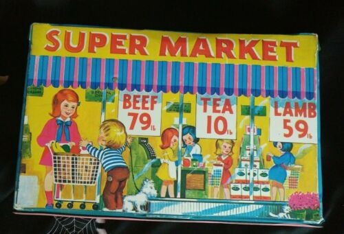 Vintage Toy Doll Supermarket with meats fruits bread vinyl shopping store 1960