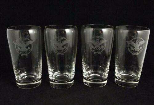 "4 SS United States Lines 5"" Glass Tumblers Etched Eagle Logo   (item#B2)"