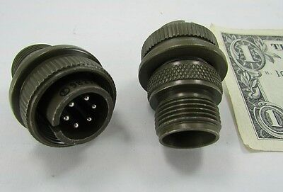 2 Amphenol Sz 14 Military Circular Connectors 6 Pole Male X Solder Ms3106a14s 6P