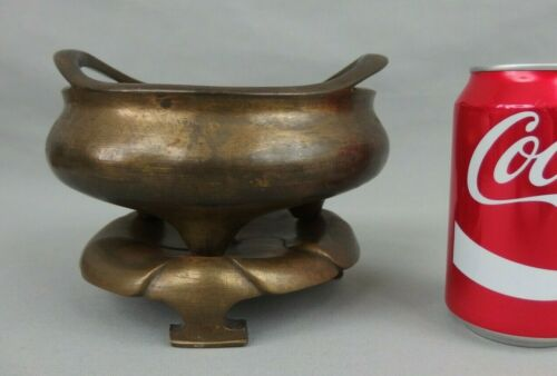 Antique Chinese Bronze Tripod Censer Incense Burner W Stand & Mark 19th C.