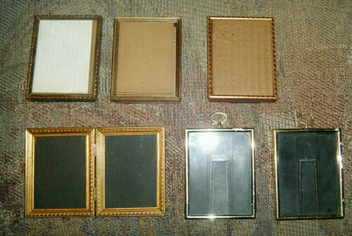 6 Vintage Gold Metal & Brass Frames, Ornate 3 1/4 x 4 1/2 inches, + Glass
