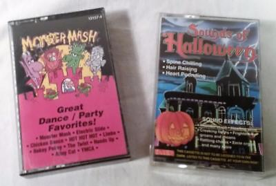 2 VTG CASSETTE TAPES SOUNDS OF HALLOWEEN SOUND EFFECTS & MONSTER MASH DANCE - Halloween Cassette Tapes