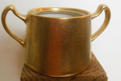 Gold Tone Relief Open Sugar Bowl Pickard