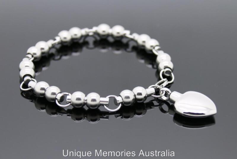 Silver Linked Spheres & Heart Cremation Memorial Keepsake Funeral Urn Bracelet