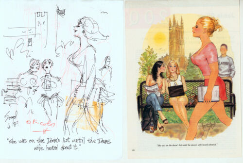 Doug Sneyd Signed Original Art Sketch Playboy OKed Hugh Hefner October 2002