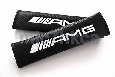 2x carbon fibre car seat belt cushion cover pads for AMG mod Mercedes (UK stock)
