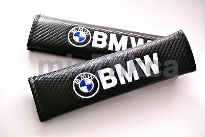2x carbon fibre seat belt cushion cover shoulder pads for BMW (UK stock)