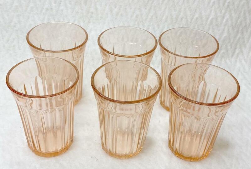 6 Vintage Fortune Pink Depression Glass 5 oz Juice Glasses