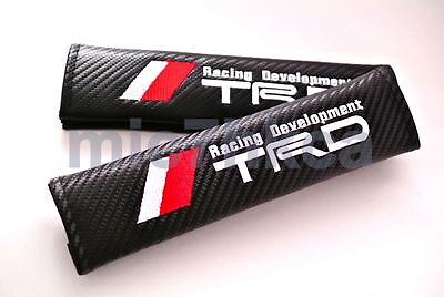 2x carbon fibre seat belt cover shoulder pads for TRD mod Toyota (UK stock)