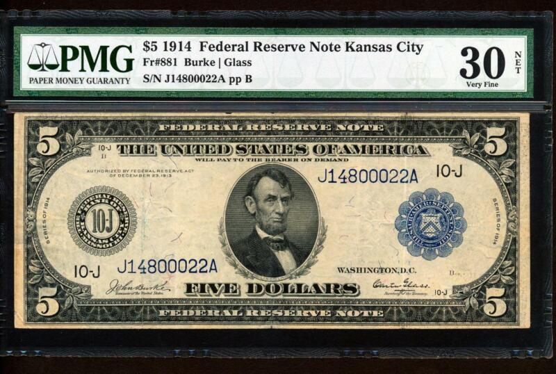 "Fr.881 1914 $5 KANSAS CITY ""BURKE-GLASS"" PMG VERY FINE 30 SUPER RARE COLLECTIBLE"
