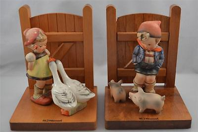"""GOEBEL MI HUMMEL """"GOOSE GIRL AND FARM BOY"""" BOOKENDS-WOOD MATCHED BOOKENDS-TMK2"""