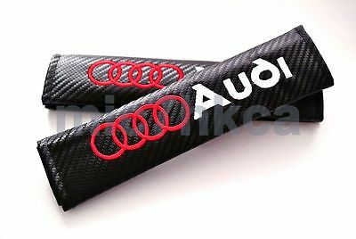 2x carbon fibre car seat belt cushion shoulder cover pads for AUDI (UK stock)