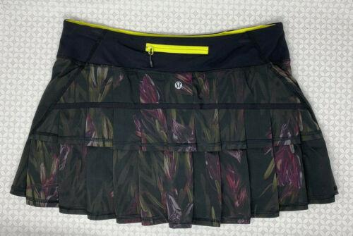 LULULEMON Pace Setter Skirt Midnight Iris Black Floral Sz 8 Regular Used