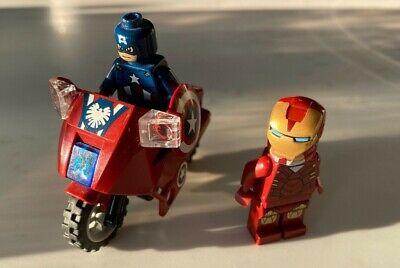 Lego Marvel mini figures Captain America plus motorbike and Ironman.