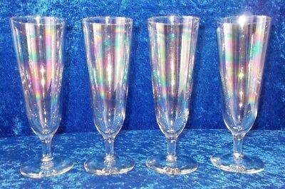 SET OF 4 VINTAGE CLEAR IRIDESCENT 12 OZ PILSNER GLASSES #2 (140) Vintage Pilsner Set