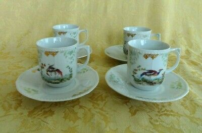 Cup Birds and a Bunny Handmade in Porcelain and Decorated all over with Rusty Brown Flowers