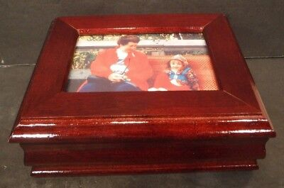 Small Flip Top Photo Frame Top Jewelry Box 1 Compartments&Ring Holder Felt lined