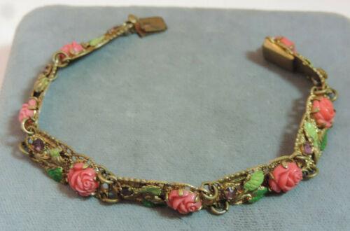 Vintage Art Nouveau F Coral Rose Flower Enamel Filigree Bracelet Ce 113.7