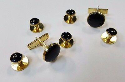 NEW Black Gold Tuxedo 2 Cuff Links Shirt 5 Studs Formal Set Cufflinks Extra Stud - Gold Tux