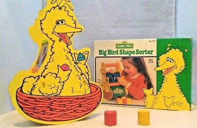 1987 Sesame Street Big Bird Rocking Wood Shape Sorter Toy BOX Muppets Inc. RARE ()
