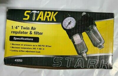 New Stark In Line Air Compressor Water Twin Air Filter With Regulator Trap 14