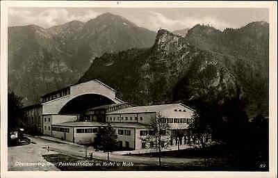 Oberammergau Bayern s/w AK 1953 gelaufen Am Passions Theater mit Kofel und Noth