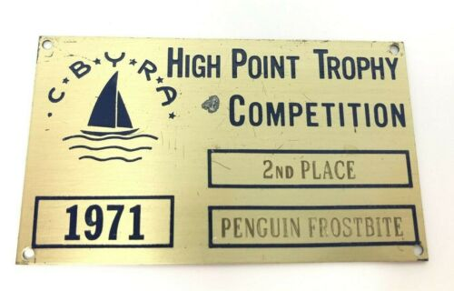 1971 CBYRA High Point Trophy Competition 2nd Place Penguin Frostbite Brass Plate