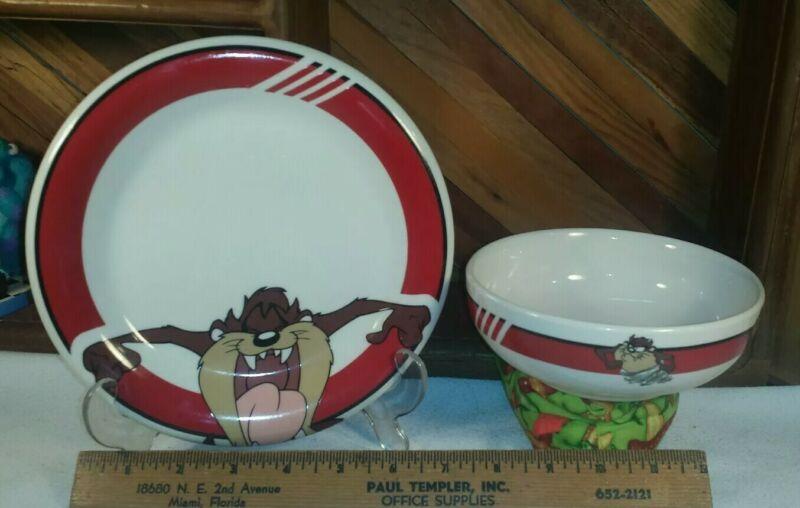 Looney Tunes Taz Tazmanian Devil Bowl & Plate by Gibson Housewares Warner Bros