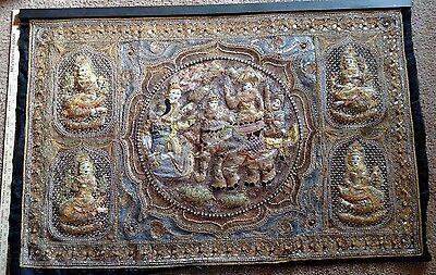 Vintage Thai Kalaga Tapestry hand embroidered wall hanging Burma