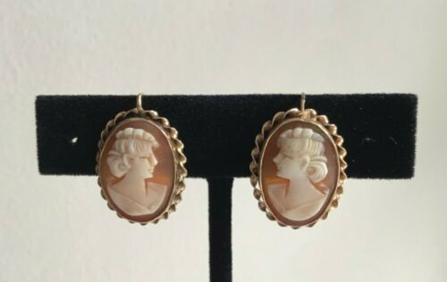 VINTAGE 14k Cameo Shell  Drop EARRINGS 4.3G *EXCELLENT*