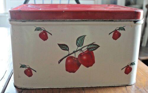 Vintage Decoware Metal Hinged Bread Box - Apple Decoration 1950