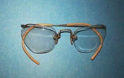 1930 to 1940s Eye Glasses B&L 12K Gold Filled Wire Frame Semi Rimmed AO (Wire Rimmed Glasses Frames)