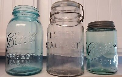 Vintage Canning Jars Blue Ball Qt. Foster Sealfast Qt. & Blue Ball Mason Pint - Ball Jars Wholesale