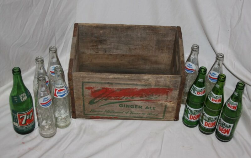 LOT of 10 Vintage Soda Bottles 7Up Up+diet Pepsi Mountain Dew+Vernor