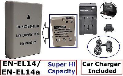 Super Hi EN-EL14a Li-Ion Battery With Dual Volt Charger For Nikon D3400 D5600
