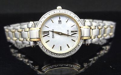 Seiko SUT198 Tressia Two Tone Dimond Mother-of-Pearl Dial Solar Watch $475