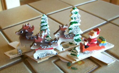 Vintage Japan Expandable Santa Diorama with Reindeer and Trees.
