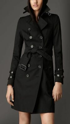 BURBERRY Leather Detail Trim Cotton Gabardine Trench Coat Black US 4 UK 6