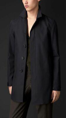 Burberry Prorsum Cotton Garbardine Caban Trench Coat, Mens, Size 50, Dark Navy