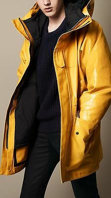 NWT Burberry Yellow Detachable Duck Down Rubberized 2-1 Rain Jacket S Arncliffe