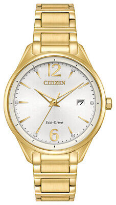 Citizen Eco-Drive Women's Crystal Accents Gold Tone 37mm Watch FE6102-53A