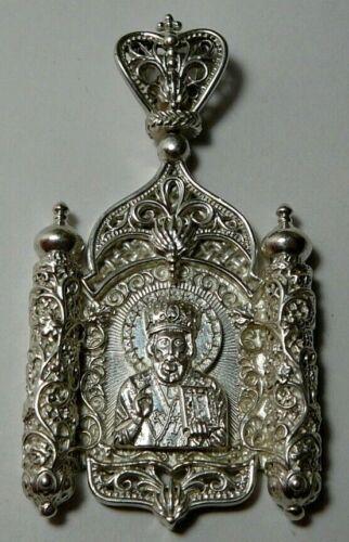 Icon Saint Nicholas the Wonderworker Sterling Silver Big Pendant