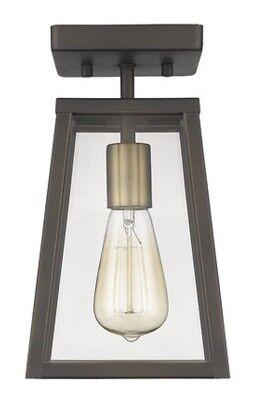 Oil Rubbed Bronze & Antique Brass Semi-Flush 1 Light No Glass 11.5