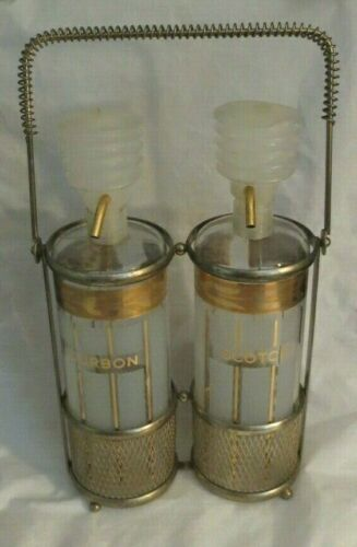 "VINTAGE MID-CENTURY FRED PRESS ""BOURBON"" & ""SCOTCH"" PUMP DISPENSERS-CARRY HOLDER"