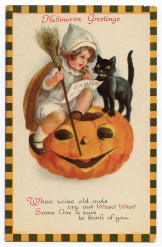 Clapsaddle Wolf Halloween Child JOL Black Cat Checkered Border