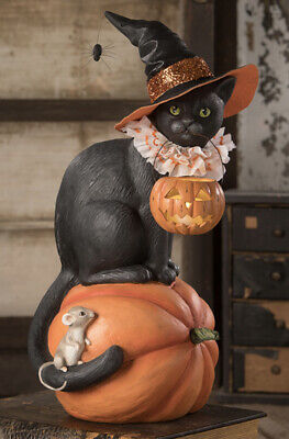 Bethany Lowe Halloween Black Cat Witch on a Pumpkin—NEW for 2020