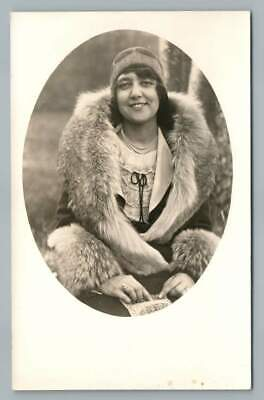 1930s Art Deco Style Jewelry Flapper Girl in Fur Coat & Pearl Necklace RPPC Antique Fashion Photo 1930s $29.99 AT vintagedancer.com