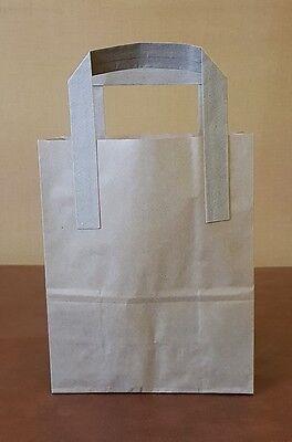 250 x Small Brown Paper Kraft SOS Takeaway Carrier Bags!
