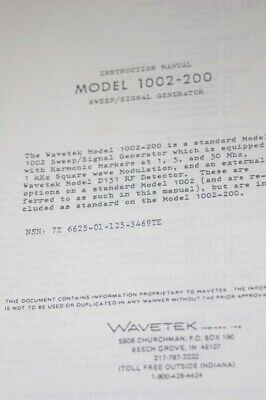 Wavetek 1002-200 Sweep Signal Generator Instruction Operating Manual
